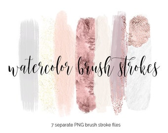 Handpainted brush strokes // watercolor brush stroke // acrylic brush clip art // gold glitter rose gold brush strokes // marble