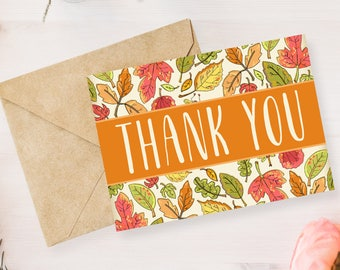 Digital Printable Thank You Notes, Thank You Card, Bridal Shower, Baby Shower, Wedding - Autumn, Leaves, Fall, Note Card- 5x7 TY002orange