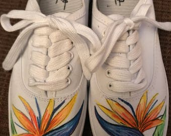Hand painted sneaks- Birds of Paradise