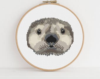 Sea Otter Animal Portrait Counted Cross Stitch Pattern