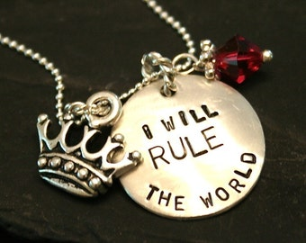 Graduation Gift/Graduation Jewelry/Sterling Rule The World Necklace with Birthstone and Crown - great graduation gift