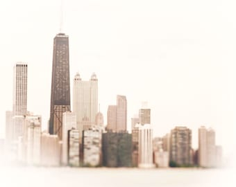 Chicago Skyline Wall Art, Photograph Chicago, white wall art print, neutral home decor, urban art, greige, grey, beige, Hancock building art