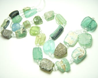 Ancient Roman Glass Rectangle Shaped Beads - 9 to 15mm - Full Strand - 16 Inches