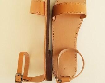 Women Open Toe Leather Sandals - Women Handmade Greek Sandals