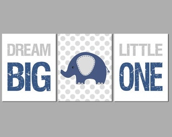 Navy and grey elephant Nursery Art Print Set, Baby Boy Room Decor, dream big little one, kids wall art, baby elephant -UNFRAMED