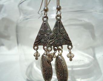 Valentine's Day, triangle, tribal earrings, ethnic earrings, metal earrings, pendant earrings, geometrical earrings, women's earrings, boho
