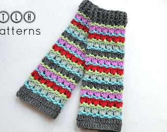 Crochet legwarmer pattern, colorful knee high leg warmers, Striped legwarmers, 5 sizes - 3 years to adult, pattern no. 69