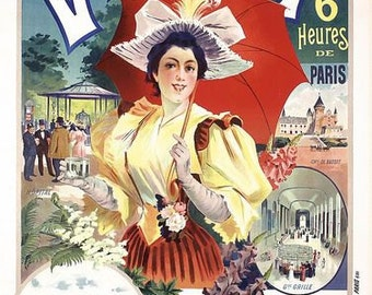 Vintage French Day Trips From Paris to Vichy Touriam Poster A3 Print