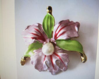 antique flower pin,..enamel...orchid