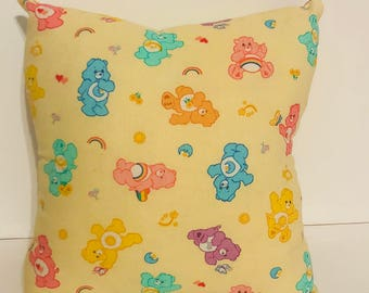 Adorable vintage handmade Carebear children's throw pillow, 80s plush toy