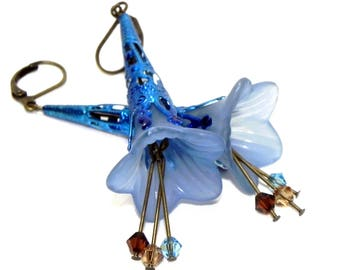 Lucite Trumpet Flower Earrings - Victorian Blue Lily - Hand painted blue Filigree Cone - Swarovski crystals - Birthday Mothers Day gift idea