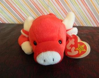 """TY Red  Bull Beanie Baby """"Snort"""" (J)"""