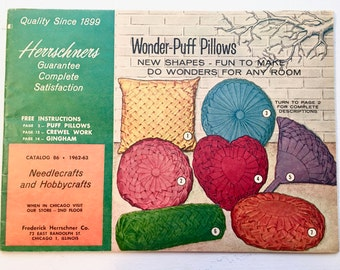 Vintage Needlework Craft Supply Catalog. 1960s Herrschners Chicago. No. 86.  Needlecraft. Embroidery, Pillows, Rugs, Aprons, Mosaic, More.