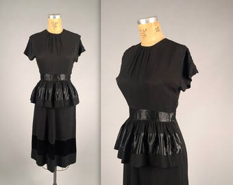 1940s little black cocktail dress • vintage 40s dress • crepe evening dress with peplum