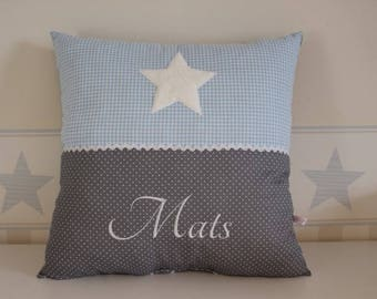 Pillows personalized Blue Star with name