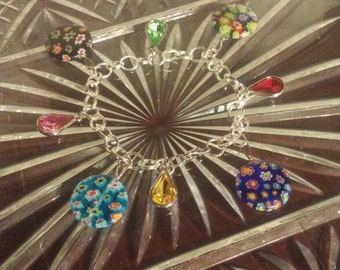 Multi Colored Flower and Gem Silver Bracelet