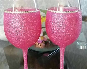 Very Large glittered wine glasses set of 2 with diamante rim