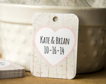 Birch Tree Heart Wedding Favor Tags, Rustic Wedding Favor Tags, Country Wedding Favor Tags