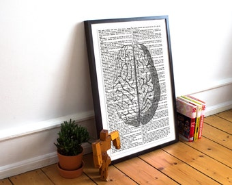 Anatomy Print, Brain print, vintage dictionary art, Dictionary print, vintage anatomy print