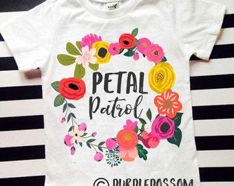 Flower girl shirt flower girl petal patrol girls flower girl shirt wedding shirt flower girl wedding rehearsal dress flower girl outfit