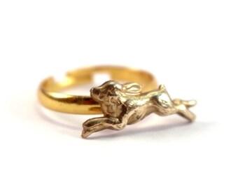 Golden Rabbit Ring, Alternative Woodland Friendship Rings, Rabbit and Fox Ring Set, Golden Best Friend Gift, Adjustable Ring for Women