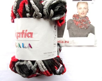 LAINTE KATIA Gala one SKEIN is shades of Red gray black BORDEAUXref 1 scarf. 51902