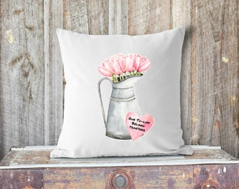 Pink Watercolor Tulips Valentine's Pillow