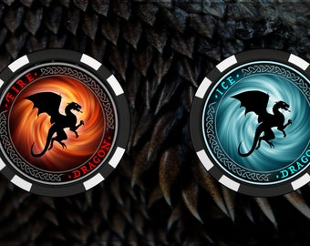 Fire and Ice Dragon Poker Chips