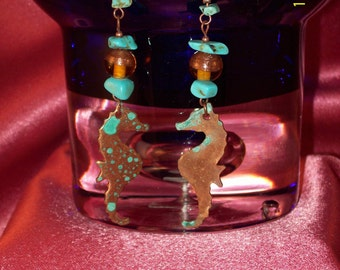 SALE-Copper Seahorse Turquoise Nugget Dangle Earrings