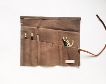 Waxed Canvas Pen/Pencil Roll Pencil Case Leather
