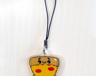 "Cute Pizza Slice Kawaii Acrylic Phone Charm 1.5"""