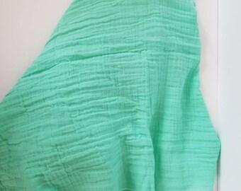 Opal green muslin blanket. Muslin Swaddle Blanket. Double gauze blanket. X-large blanket