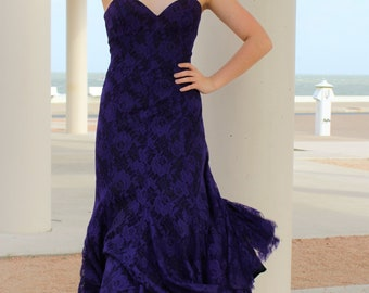 Lace Tea Length Dress Women | TD4 by Eletra, XS/S, Lace Tea Length Dress, Formal Lace Dress Women, Strapless Lace Dress, Purple Lace Dress