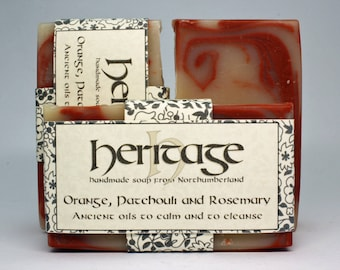 Handmade Soap Bar with Orange, Patchouli, Rosemary, & May Chang essential oils. 100% Natural Ingredients. Olive, Coconut, Shea, Cocoa, Hemp.