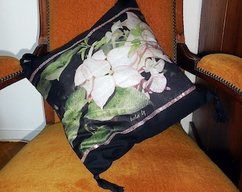 pink leaves pillow cover 40 x 40 cm cotton black