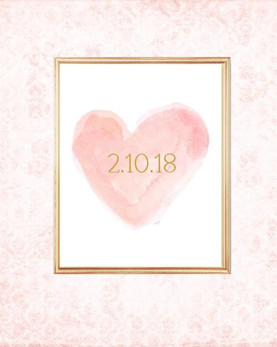 Blush Wedding, Blush Bridal Shower, Special Date, Wedding Date, Custom Date Print, Wedding Date Print, Blush Wedding Gift, Blush Bride