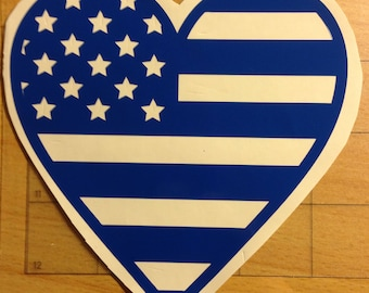 Personalized heart flag decal.  First Responder Support. FREE SHIPPING!