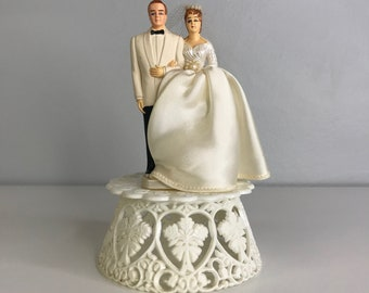 gorgeous vintage wedding cake topper bride and groom