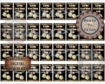 32 Mini Booze Bottle Labels Printable Let Good Times Roll Dice Bootleg Prohibition Speakeasy Gatsby Bachelor Party Roaring 20s Wedding Decor