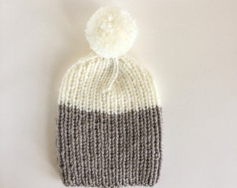 Cosy Ribbed Knitted Handmade Hat in Oatmeal & White with detachable Bobble / Two Coloured Pom-pom Beanie