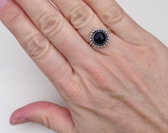 Black onyx ring sterling silver made to order