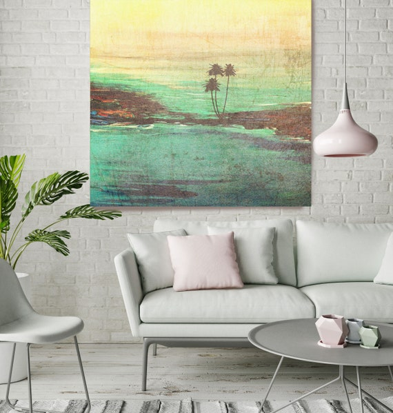 """Sunset. Huge Rustic Landscape Painting Canvas Art Print, Extra Large Green Yellow Brown Canvas Art Print up to 50"""" by Irena Orlov"""