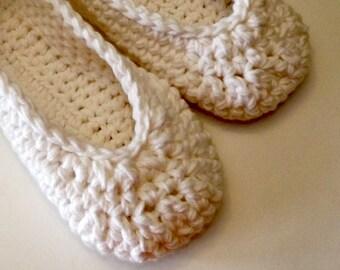 white crochet women's slippers