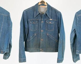 Vintage Denim Jacket //  1970's / 1960's // Rustler // L - Large //  Great Patina! // Country /  Rocker / Hipster // Retro // Levis Wrangler