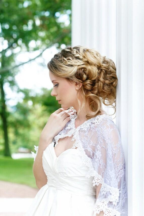 SAMPLE SALE Lilac Bridal Capelet, Lace Cloak, Lace Bridal Capelet, Wedding dress Cover, Bridal Cover up, Lavender Lace Capelet, Cape LILLIAN