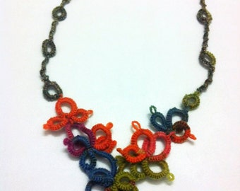Spring flowers V necklace Lace tatted necklace Ankar necklace