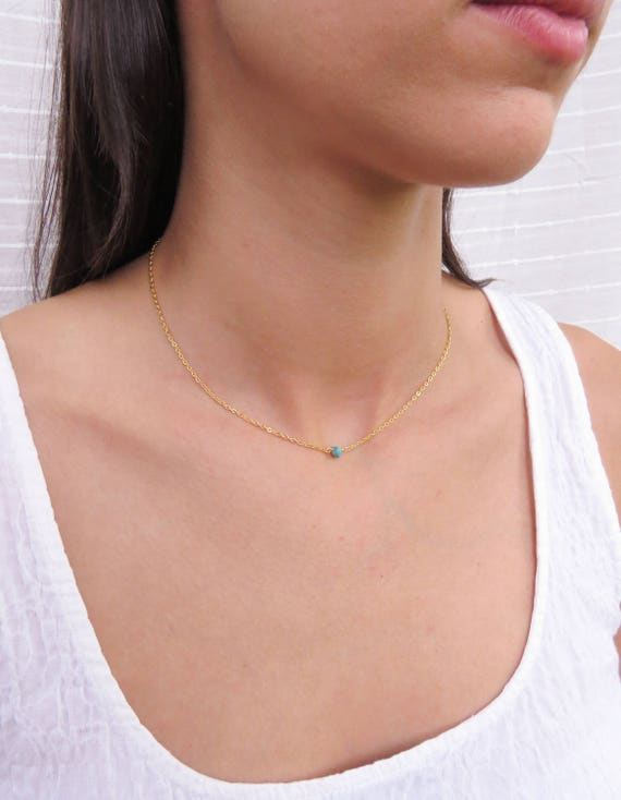 Gold Turquoise Bead Necklace