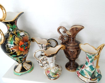 5 Belgium Pitchers Vases instant collection H Bequet Collection