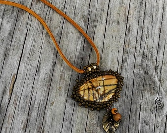 Beaded Cabochon Beaded Bale Necklace  - Bead Weaving - Statement Necklace - Red Creek Jasper Pendant - Suede Cord - BOHO