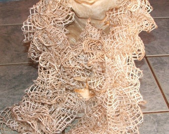 NEW - Scarf ruffled beige grid for the summer
